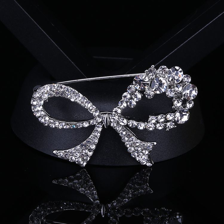 Crystal Hollow Bow Brooch Jewelry For Wedding Clothings
