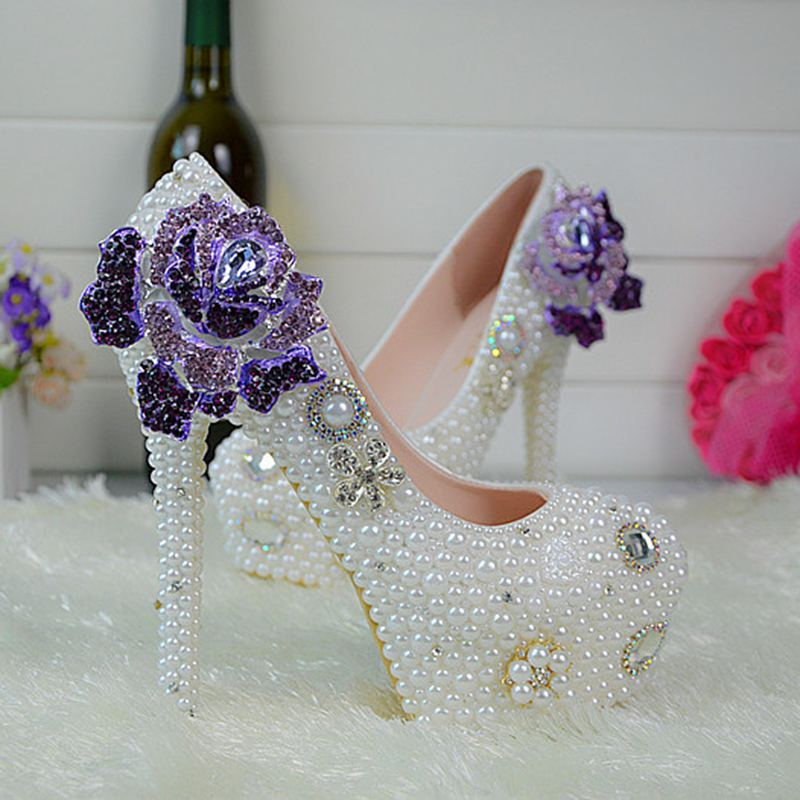 No Heel Wedding Shoes: Customize Rhinestone Purple Enchantress Pearls Wedding