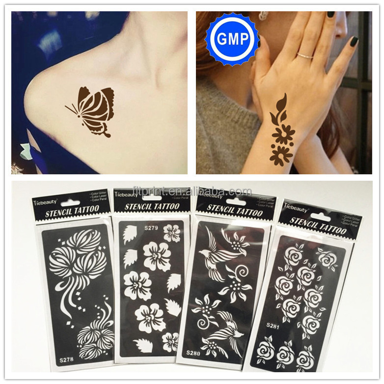Hot selling temporary tattoo stencil hollow tattoo sticker with henna cone painting, N/a