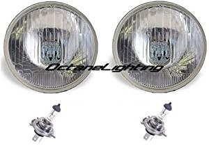"OCTANE LIGHTING 7"" Halogen 24V Glass Semi Sealed Beam Headlight Headlamp Bulbs H4 24 Volt Pair"