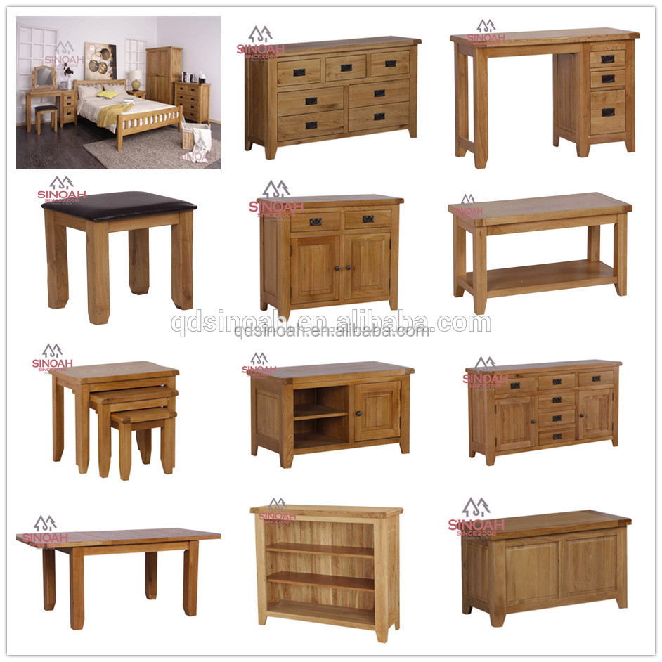 Muebles De Roble Moderno Juego De Dormitorio Cama Doble De Madera ...