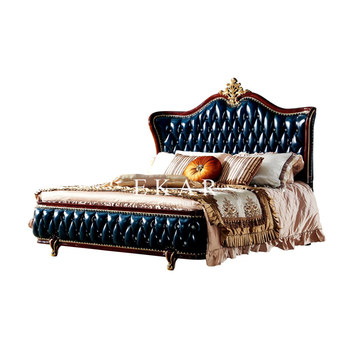 Antique Wooden Design Upholstered Leather Chesterfield Headboard King Size Bed Buy King Size Bed Wooden Bed Designs Antique Bed Product On Alibaba Com