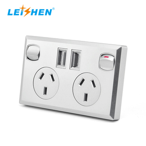 SAA RCM C-Tick Australian Standard Wall Twin Switched Socket With Twin USB Outlet 240V 10A
