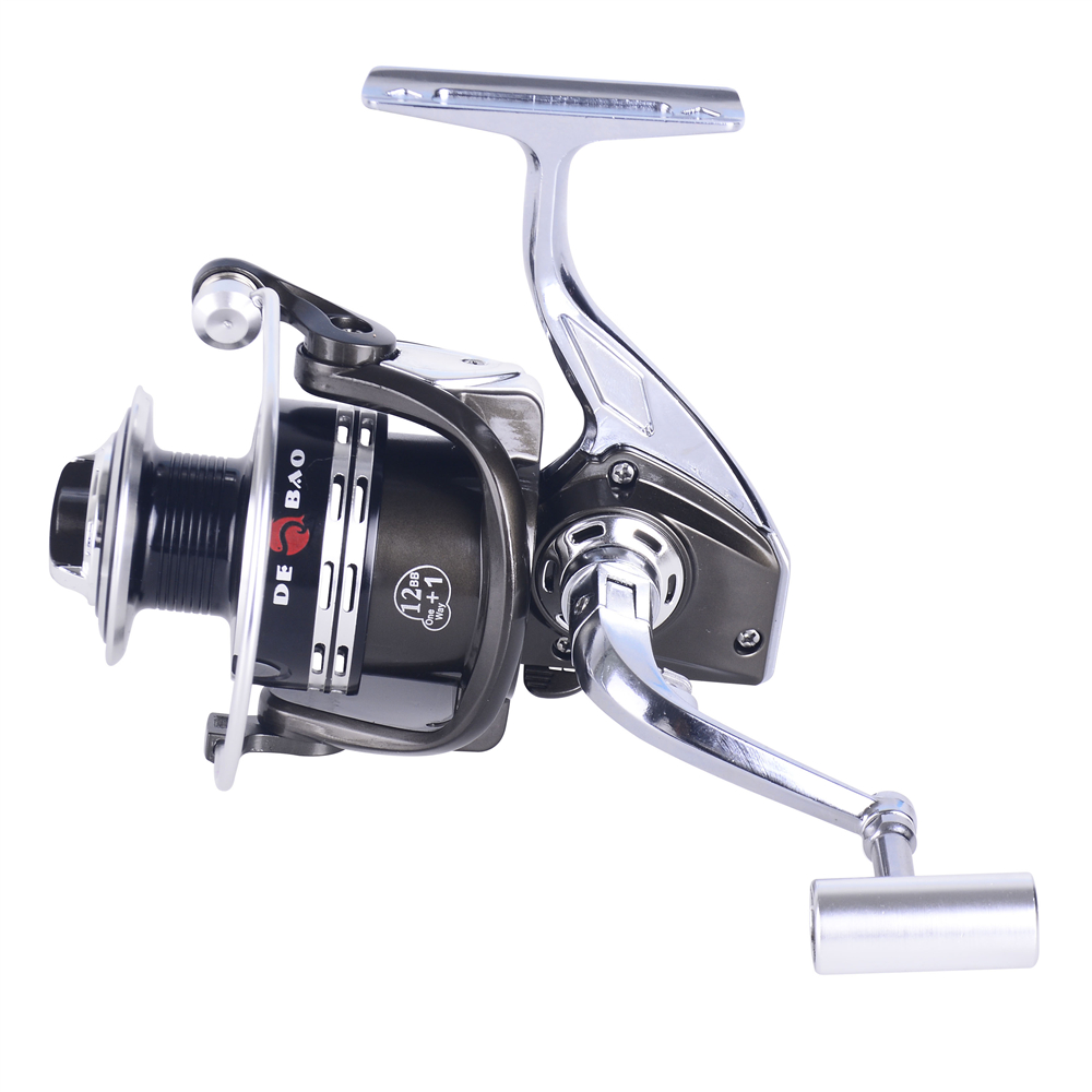 BM 12+1 BB Ratio 5.2:1 Saltwater Spinning Reel 10 Ball Bearing 5.2:1 Full Metal Body Super Powerful Smooth Fishing Reels, Black with silver