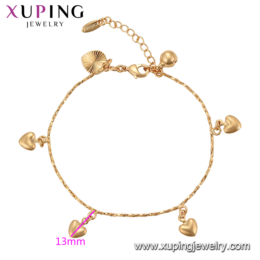 76303 Xuping 17-19cm bulk 18K gold plated color heart charms for bracelets women 2019