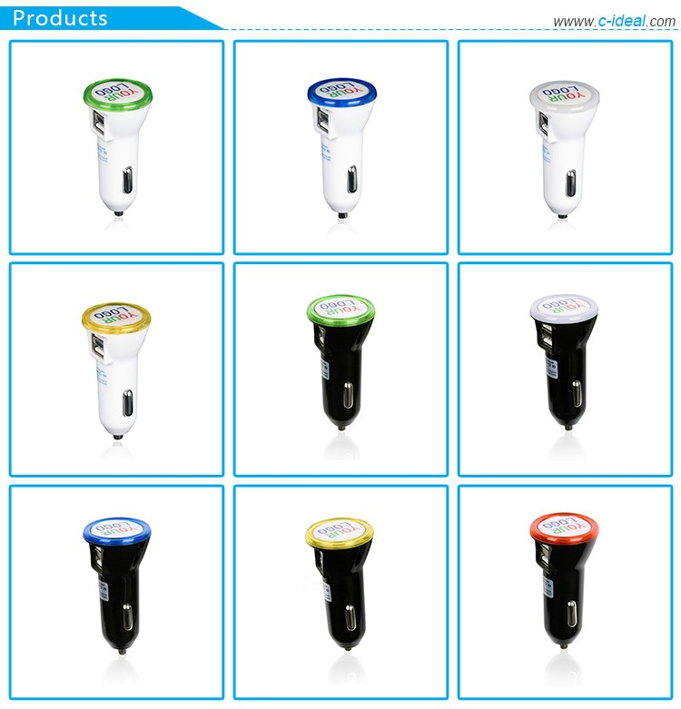promotional fast led 2 port usb mobile phone smart car charger with light logo original factory