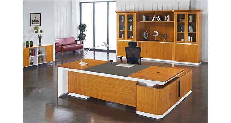Teak hout board mdf moderne executive bureau manager tafel