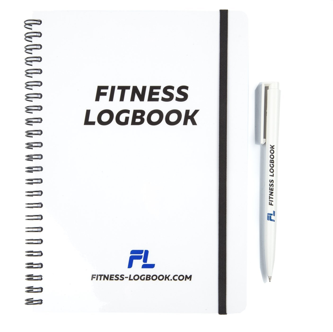 Fitness Logbook BIG: Undated Workout Journal w/ Pen - 6 x 8 inches - 75 Workouts - Thick Paper, Durable Cover, Round Corners, Wire-bound - Stylish And Easy-To-Use Gym Log Book