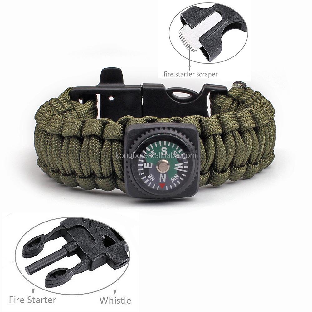 KongBo 5 in 1 outdoor survival gear green paracord bracelet compass Flint / Whistle / Scraper