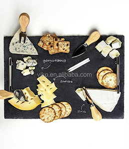 "Slate Cheese Board - 7 pc Serving Tray Set 16""x12"" Large - Stainless Steel Handles - Soapstone Chalk - 4 Versatile Cheese Knives"