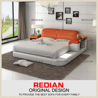 Modern design shiny Orange& White Queen size leathe bed