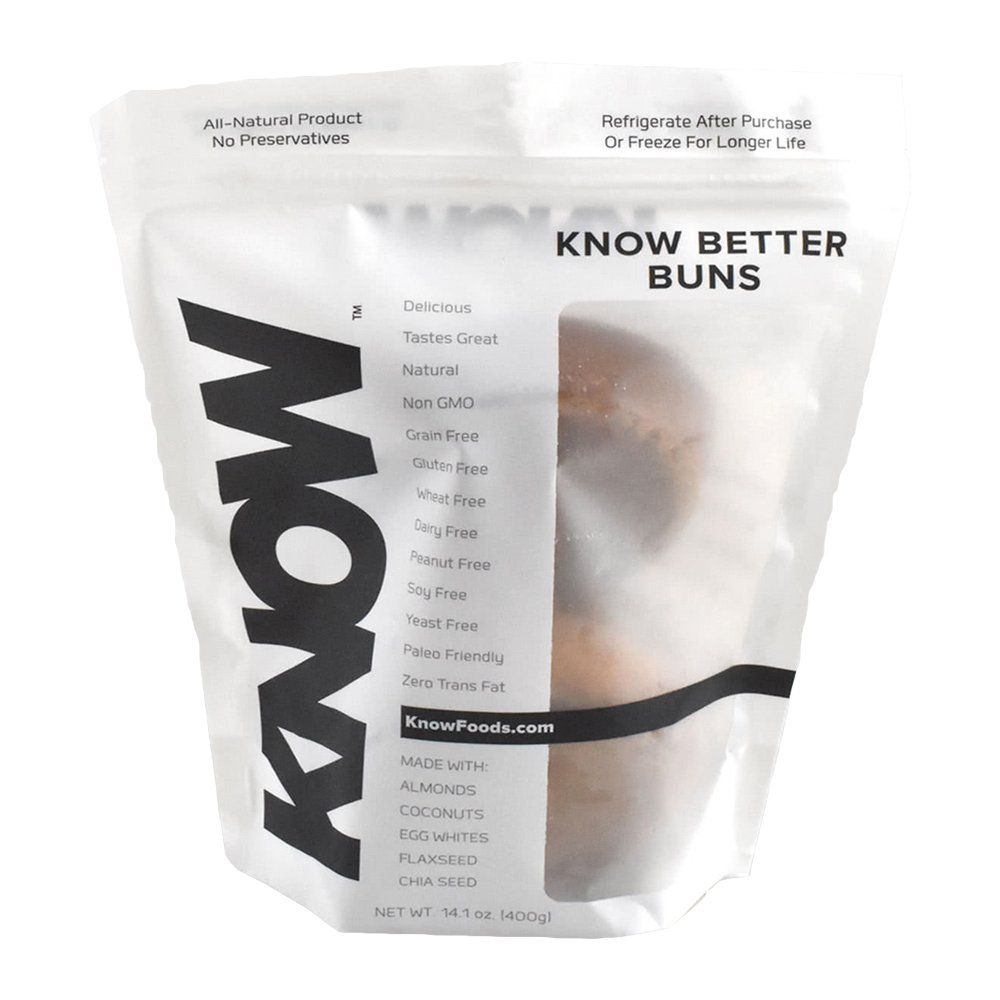 Gluten Free Grain Free KNOW Better Buns, High Protein, Low Carb, Low Glycemic Index, High Fiber. Non GMO. Amazing Taste. Made With Healthy Superfoods by KNOW Foods. 4 Buns Per Pouch (3-Pack)