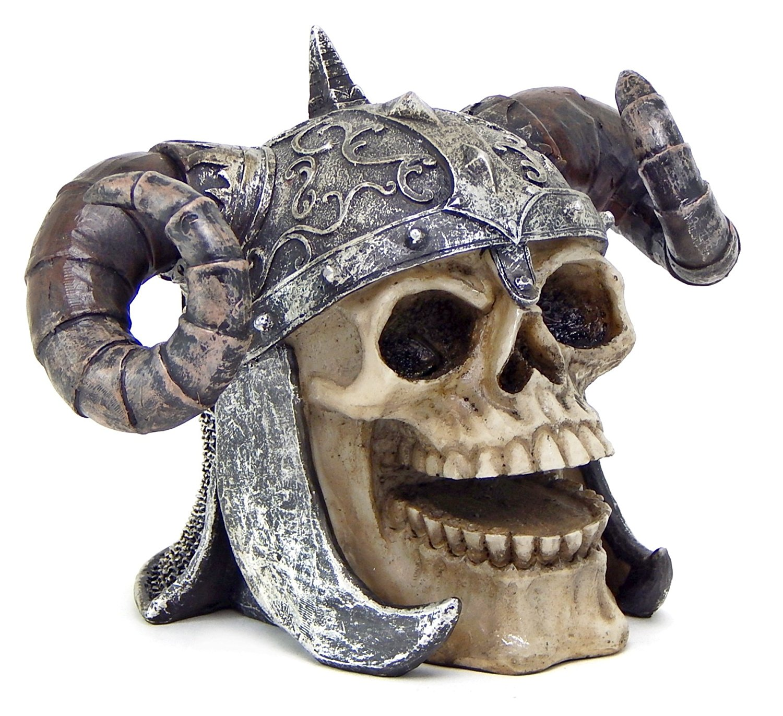 Viking Demon Ram Horn Armour Helmet Skull Statue