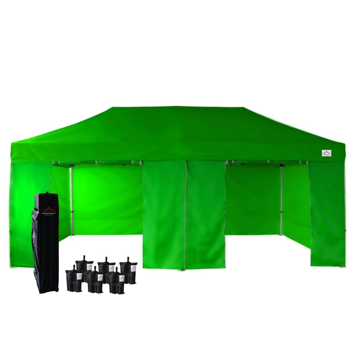 UNIQUECANOPY 500D Enhanced 10x20 Ez Pop up Canopy Portable Folded Commercial Canopy Car Shelter Wedding Party Show Tent with 4 Zippered Side Walls and Wheeled Carrying Bag Green