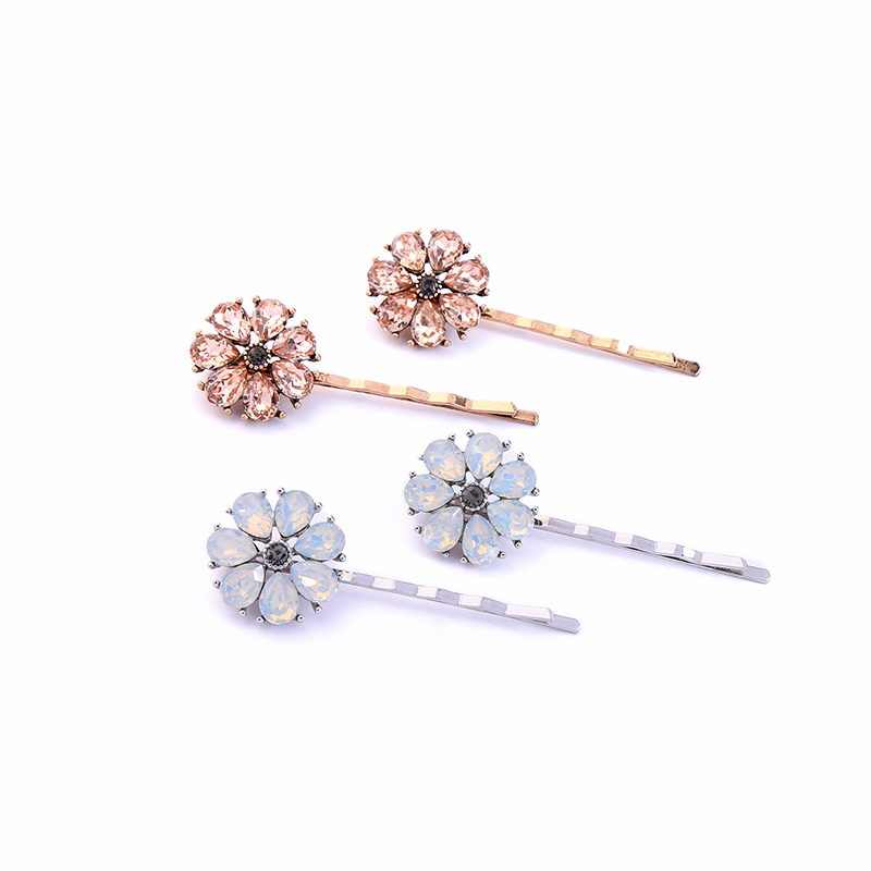 Ts00249 Wholesale Fashion Hair Accessories Jewelry Opal Stone Elegant Flower Gold Plated Hair Clips фото