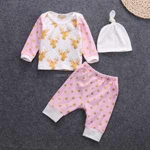Deer kids clothes sweater with polka dots harem pants matching hat clothing sets 3pcs baby outfits