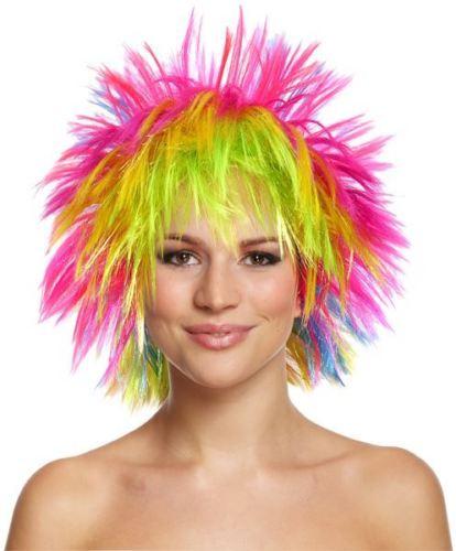 a150dddecece1 Rainbow Peruca Punk Rock Multi-Colorido Neon SD876 Mullet Vestido  Extravagante Traje Das Mulheres