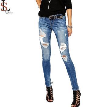 Wholesale High Quality Custom Logo Xxx Usa Skinny Fit Damaged Jeans For  Women - Buy Custom Logo Jeans,Wholesale High Quality Jeans,Xxx Usa Skinny