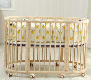 No paint multi-function solid wood baby crib / baby bed