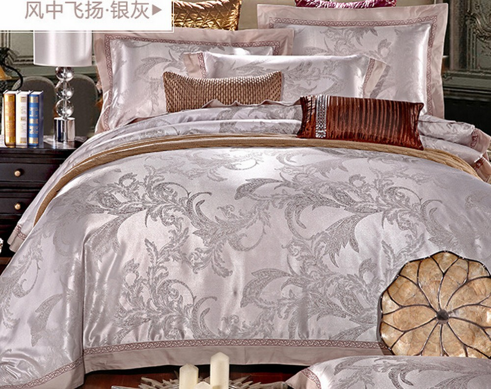colorful soie satin de coton jacquard housse de couette de qualit jeux de feuilles de literie. Black Bedroom Furniture Sets. Home Design Ideas