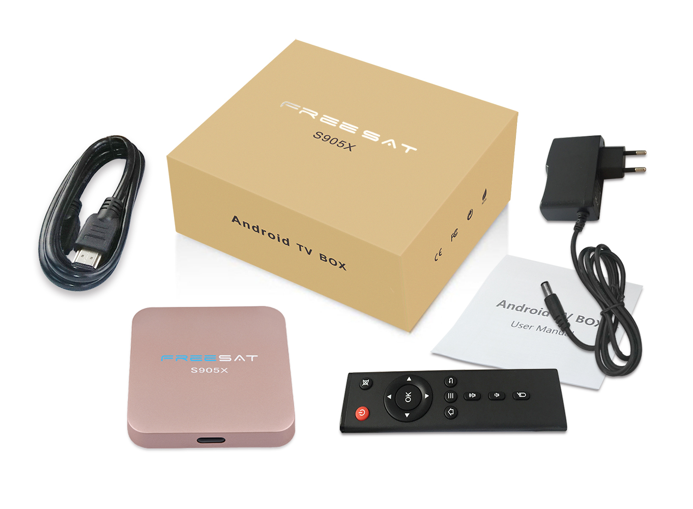 Receptor de satélite Freesat s905x 2/16G HD color rosa set top box android Freesat s905x tv box