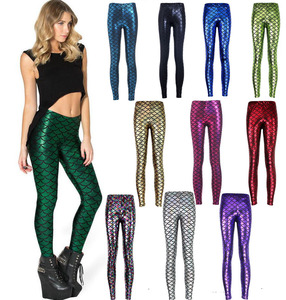 coldker Shiny Dotted Mermaid Leggings Metallic Fish Scale Skinny Pants Fancy Dress Party