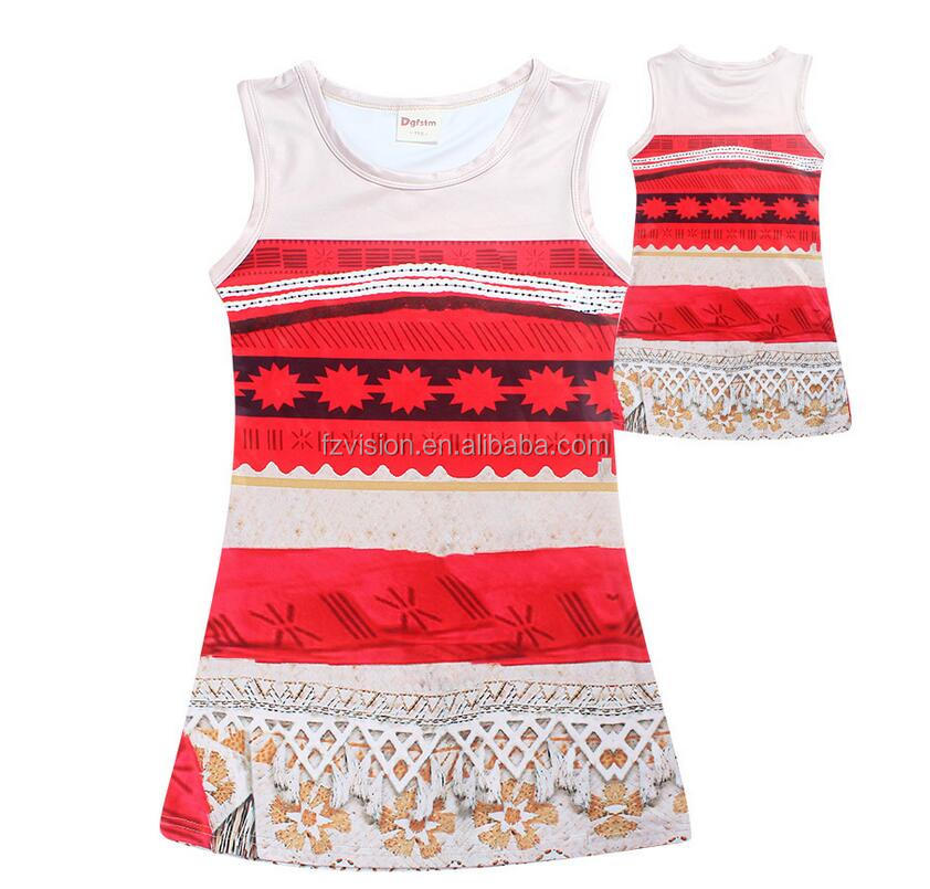 Wholesale Girls Halloween Cosplay Costumes Moana Dress with Necklace