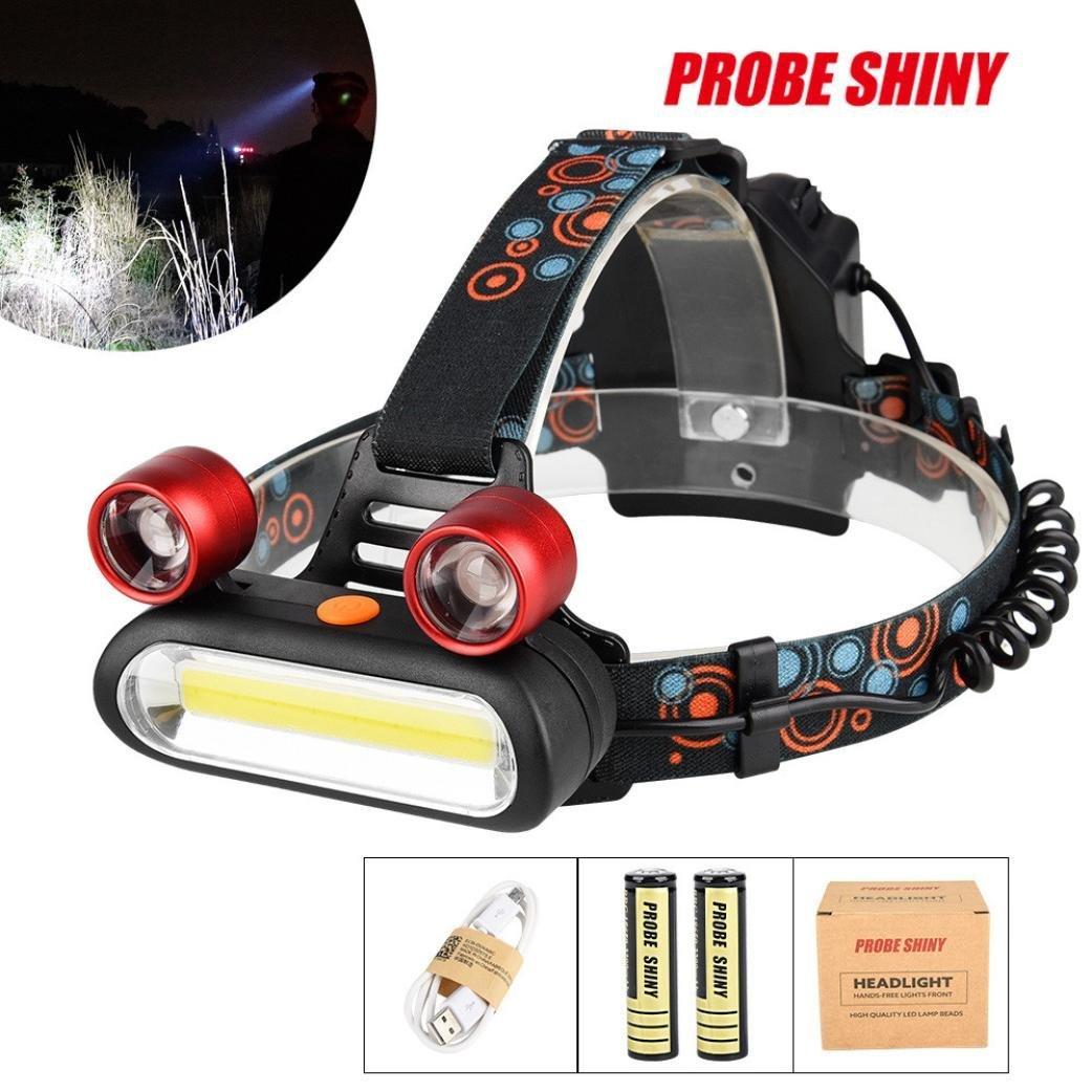 PENATE 4 Modes Waterproof Super Bright Headlamp 15000LM 2x XM-L T6 LED +COB Rechargeable Light Comfortable Hard Light Headlamp Head Light Torch Flashlight + battery + cable