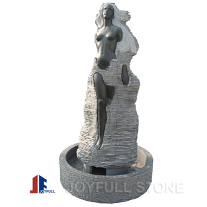 Stone Fountain Sculpture, Black marble lady water fountain
