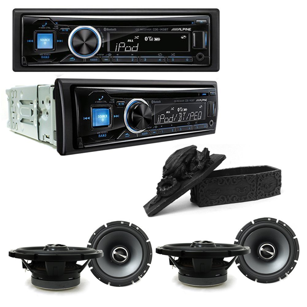 """Alpine CDE-143BT CD/USB receiver With Advanced Bluetooth and Two Speaker Sets Alpine SPS-610 Type S 6-3/4"""" Coaxial 2-way and Free Gift"""