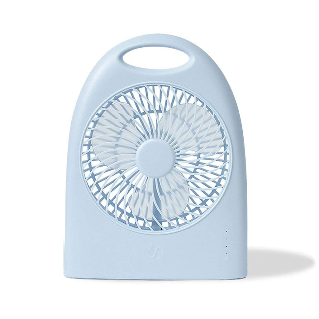 Xiao Hong Home Floor Fans Mini fan usb fan charging portable fan home silent two-leaf fan (Color : Blue, Size : 6 inches)