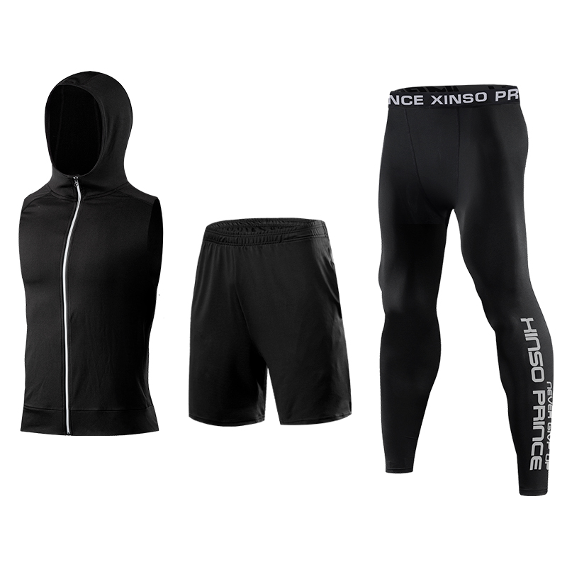 Free Match Style 5 piece compression gym tights sportswear mens fitness clothing