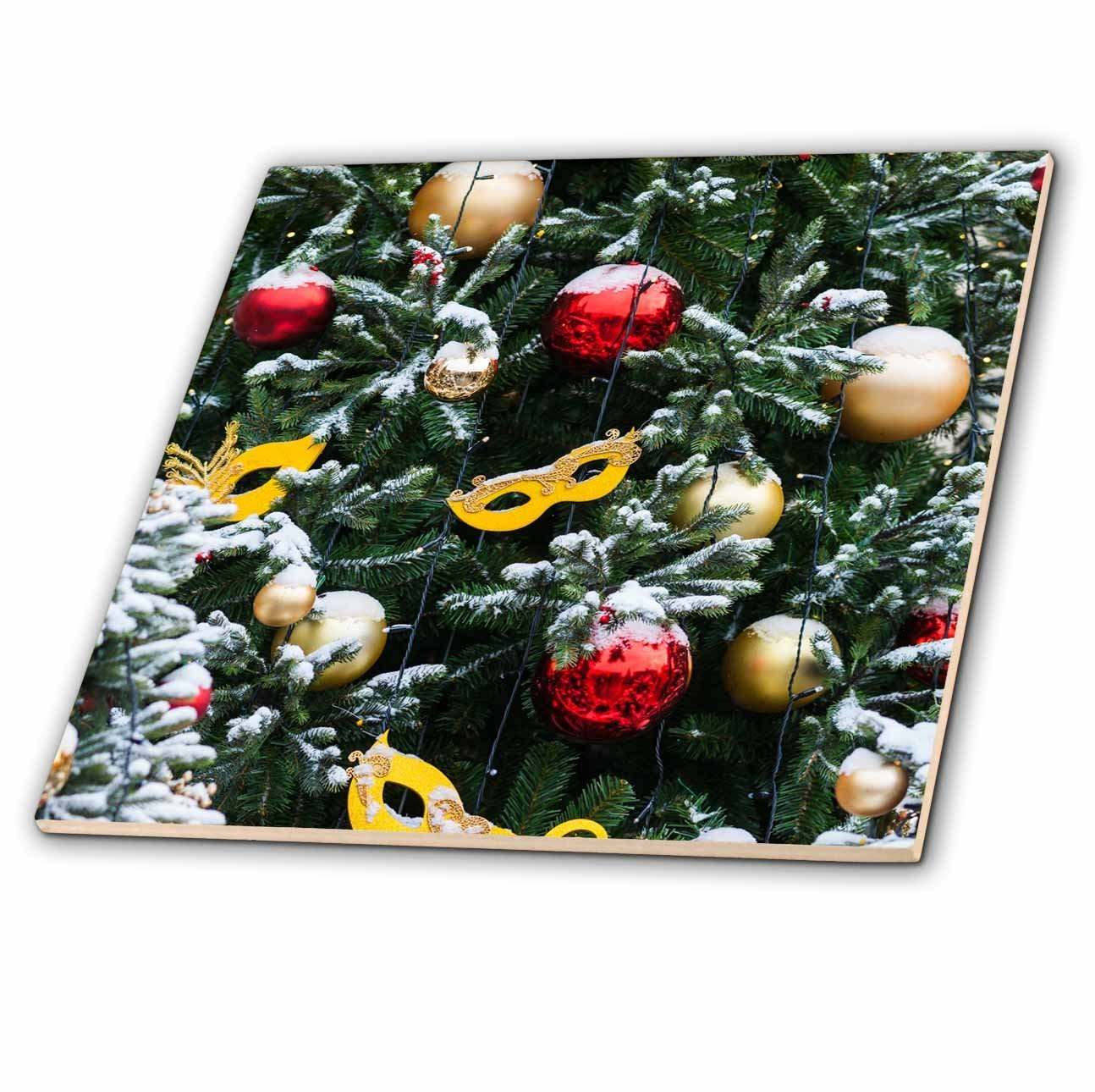 3dRose Alexis Photography - Holidays Christmas - Snow covered green decorated Christmas trees, masks, balls, lights - 8 Inch Glass Tile (ct_275963_7)