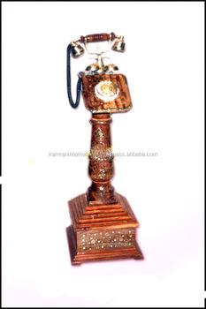 Old Style Wooden Floor Telephone Set Pedestal Telephone