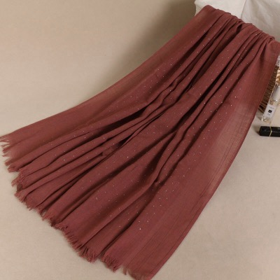 Wholesale Fashion Hot Popular Hot Silver Nail Beads Scarf Women Hijab Plain Cotton Oversize 190*110CM Long Shawl Muslim Hijab