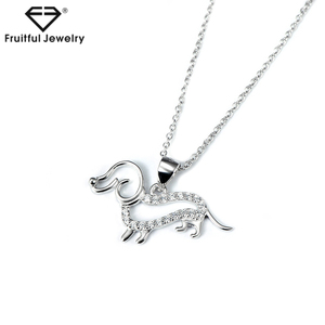 Popular ladies silver color accessories dog necklace pendant