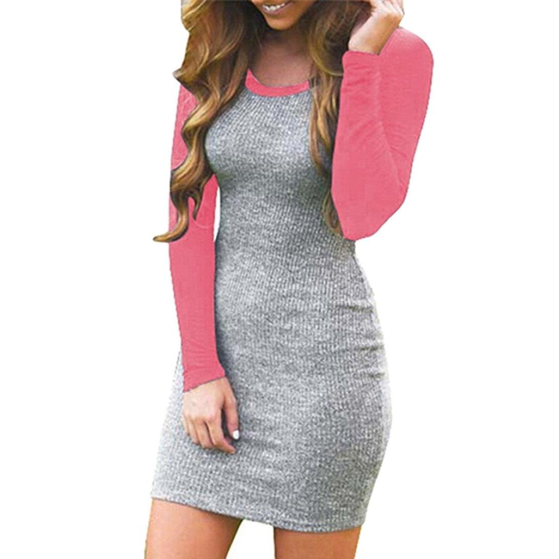 0bf4784a24c0 Get Quotations · Women Dress, ღ Ninasill ღ Hot Sale ! Splice Color Block  Long Sleeve Bodycon Evening