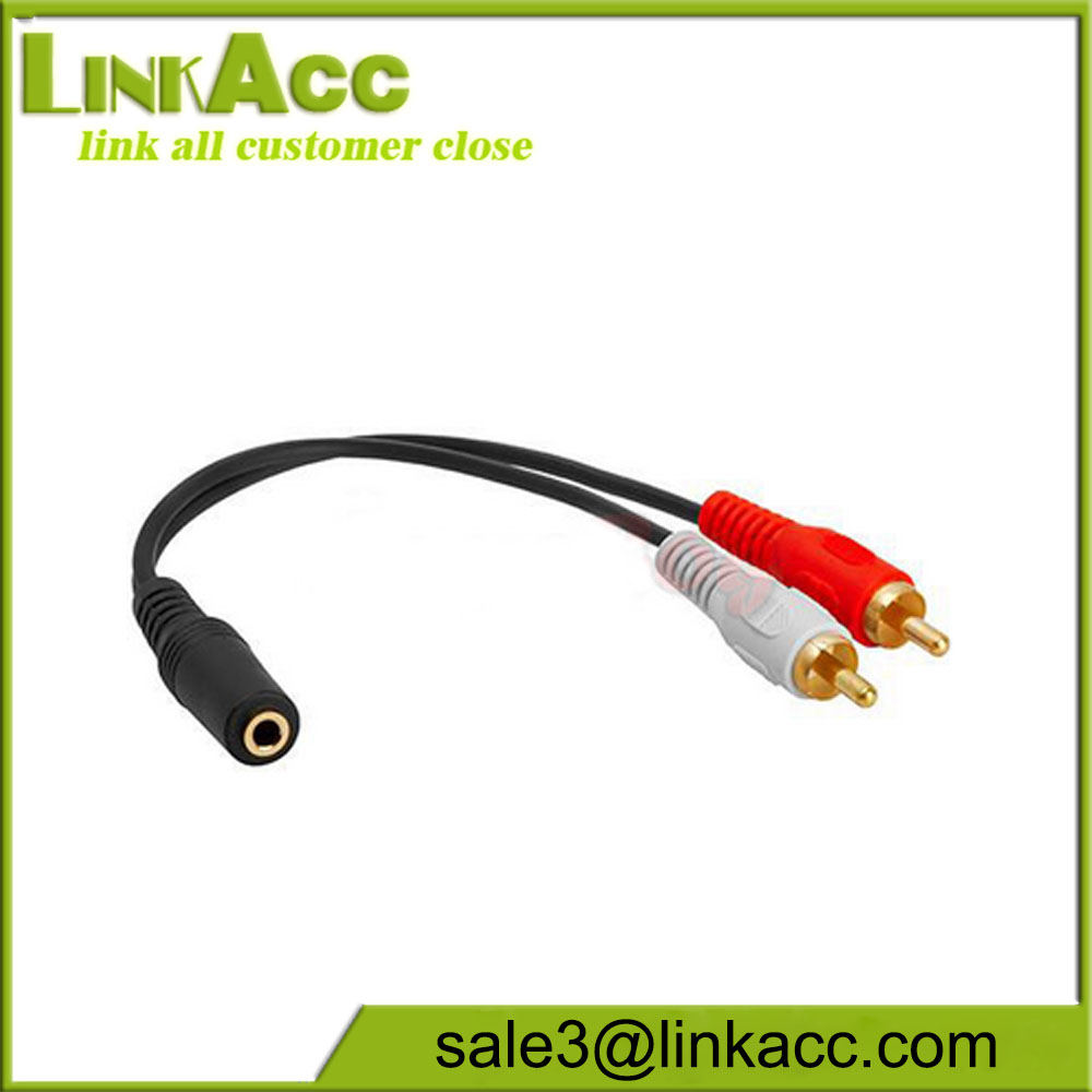 3.5mm 1//8 Stereo Female Audio Stereo Jack Plug to 2 RCA Male Cable Adapter