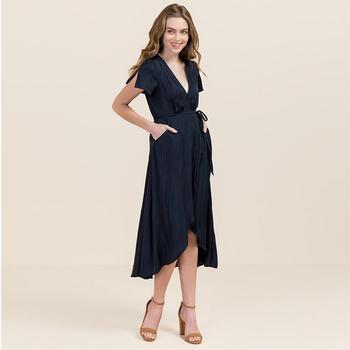 Grosir pakaian wanita terbaru wanita sexy 100% polyester sifon polos kasual  maxi dress ee7067587e