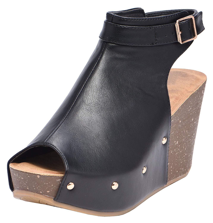 c98410c7b25 Get Quotations · Cambridge Select Women s Peep Toe Buckle Ankle Strap  Studded Platform Wedge Sandal