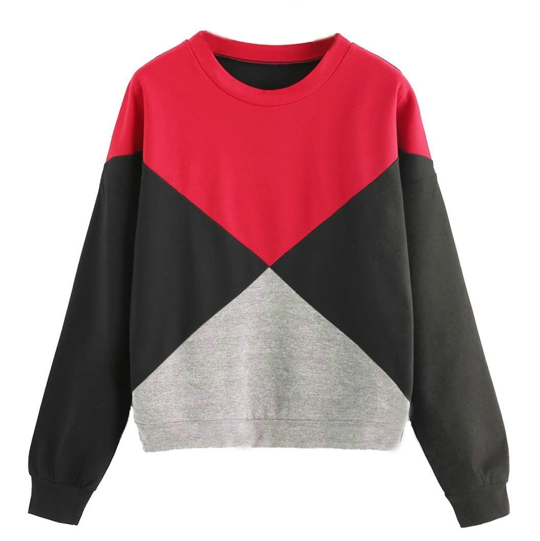 Junshion Womens Plus Size Sweatshirts Long Sleeve Patchwork Suede Pullover Tops