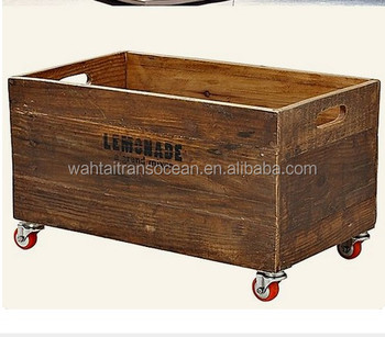 Large Vintage Wooden Crate With Wheels Box 2019