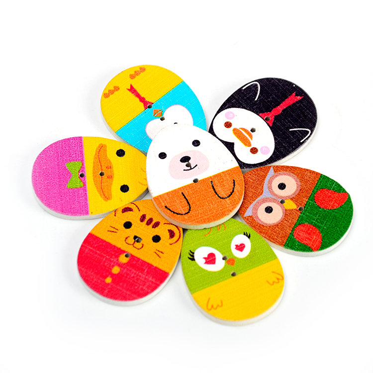 wholesale painted colorful 2 holes egg shaped for kids custom buttons wooden