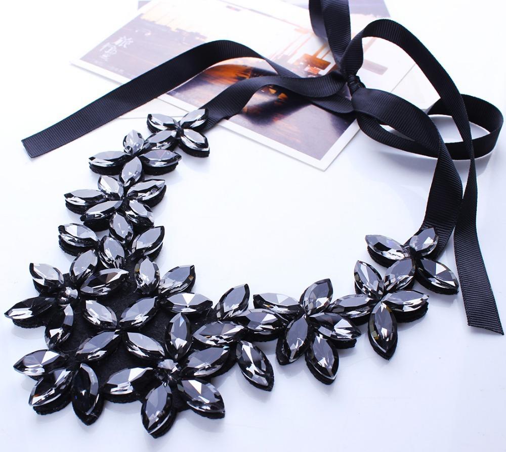 Кристалл ожерелье женщины хрустальный цветок ожерелье лента колье нагрудник воротник ожерелье N2524