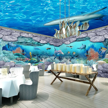 3d Under Sea Word Wallpaper Used Hotel Decorative Mural For Wall And