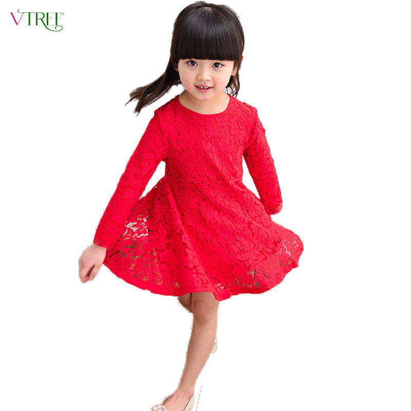 2016 spring autumn baby girl dress lace girls dresses long sleeve kids clothes princess dresses for girls child costume