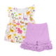 summer floral printed shirts and shorts girls children blank wholesale clothing