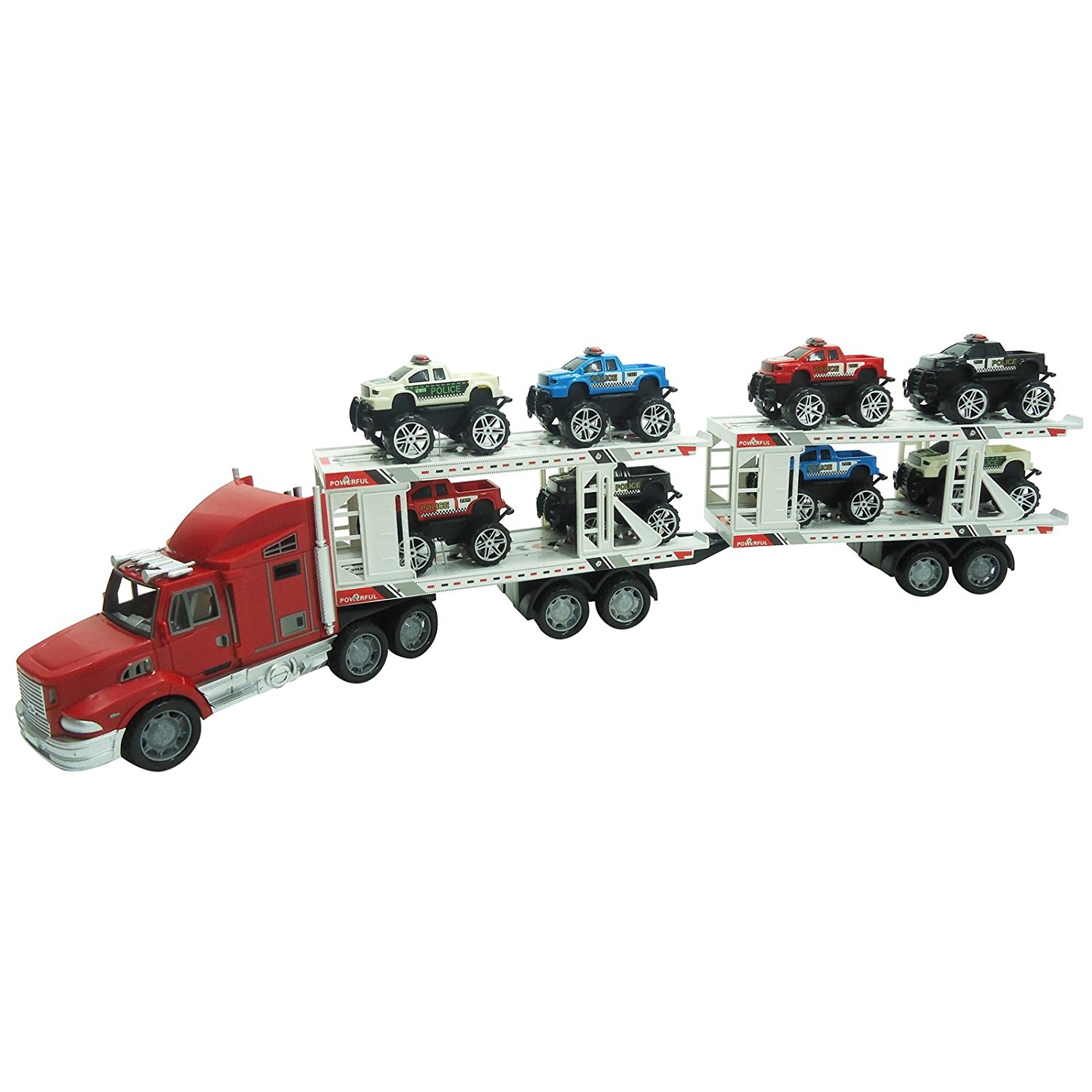 Extreme Semi Truck Trailer Hauling 8 Monster Cars Friction Powered Toy