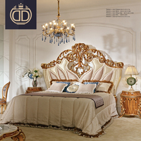 French Style Palace Luxury Fabric double bed high end wood carved king queen size sleeping antique bed