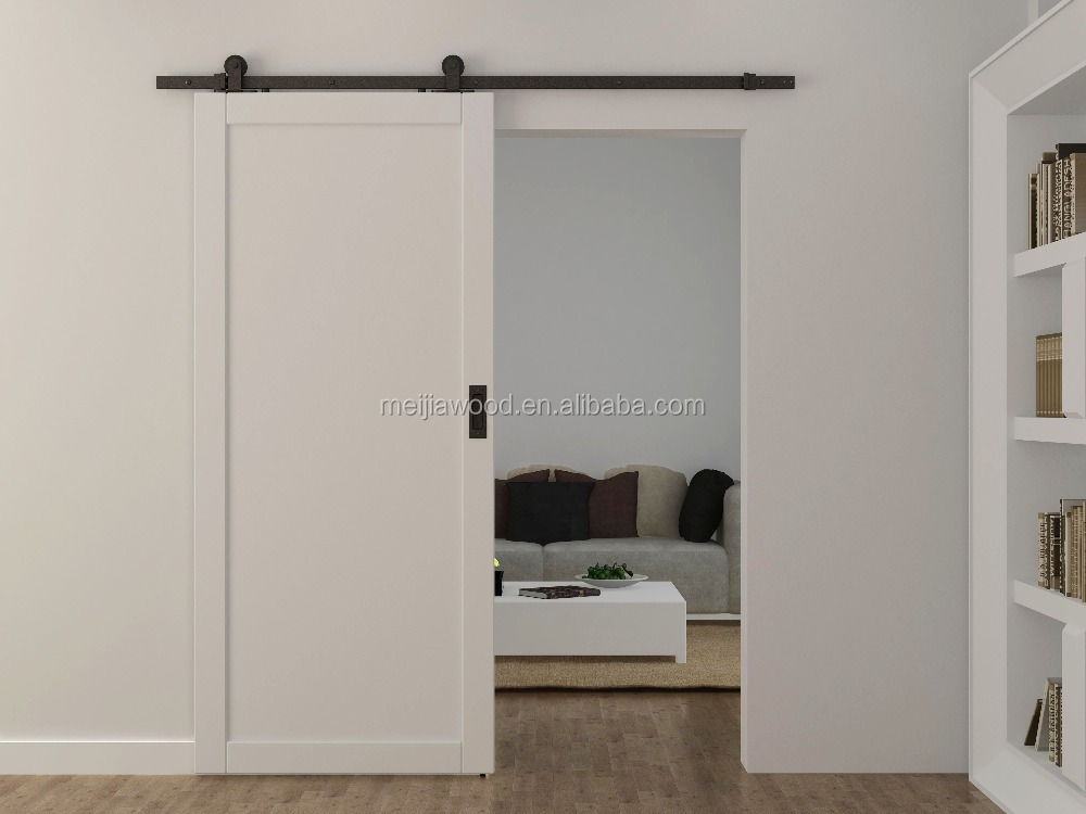 "38""X84""Classical Rustic Shaker style white stained interior barn door slab for bedroom with sliding door hardware"